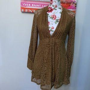 Free people mini dress !!! Brown caramel color !!!